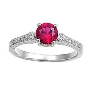 Petite Ruby Birthstone Ring in Sterling Silver